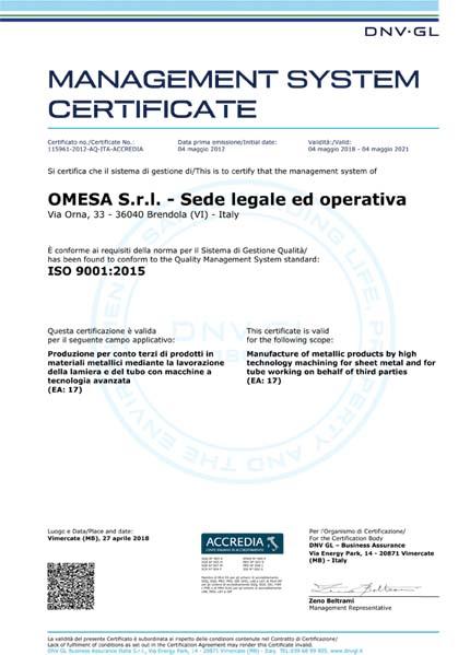 Carpenteria certificata ISO 9001
